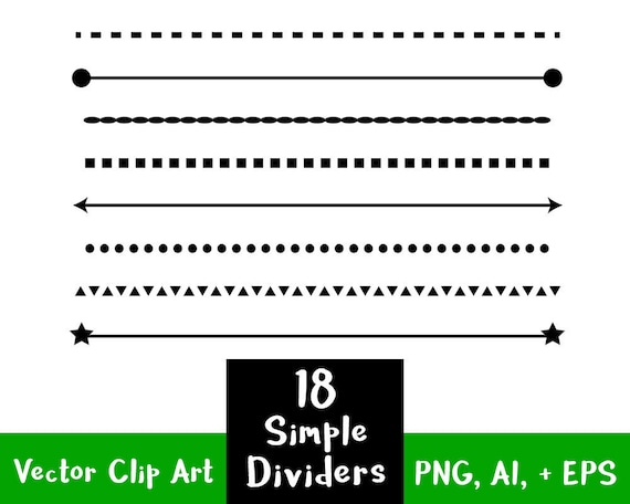 Simple One Line Text Art : Simple shape line dividers clip art text divider