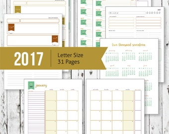 Printable 2017 Calendar, Desktop Monthly Planner, Goals Planner