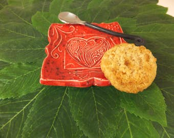 Red Heart Soap Dish, Spoon Rest, Ring Holder