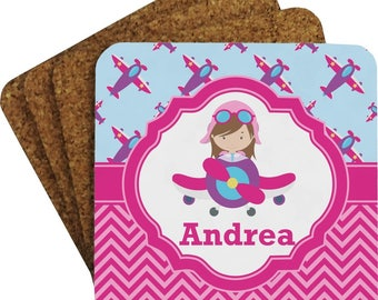 Airplane Theme - for Girls Coaster Set (Personalized)