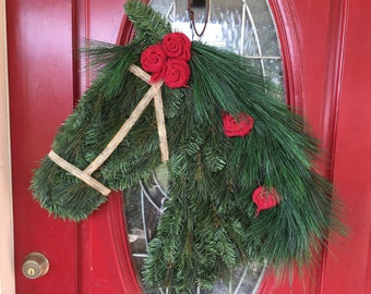 Draft Horse Wreath with Red Burlap