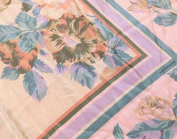 Vintage Liz Claiborne Silk Scarf Pastel Floral Designer Scarf Wedding Anniversary Birthday Wall Art Gift Autumn Fall Fashion