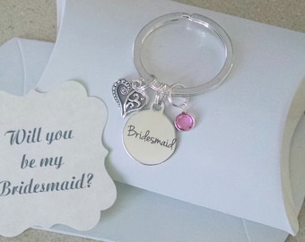 Bridesmaid Keychain, Bridesmaid Proposal, Tie The Knot, Bridesmaid Ask, Will You Be My Bridesmaid, Gift For Bridesmaid, Keychain, Charm TINY