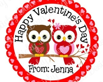 PERSONALIZED VALENTINE STICKERS - Loveable Owls - Round Gloss Sticker Labels