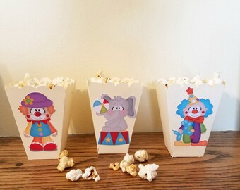 Circus Favor Box, Circus Popcorn Box, Circus Birthday Party Favor