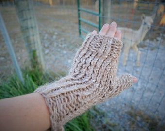 100% Suri Alpaca Awesome Oversized Fingerless Gloves