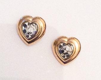 Glass Heart Earrings, Gold Tone, Pierced Earrings, Vintage Jewelry, WINTER SALE