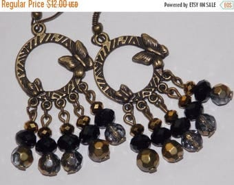 15%OFF Black and Gold Bronze Butterfly Chandelier Earrings