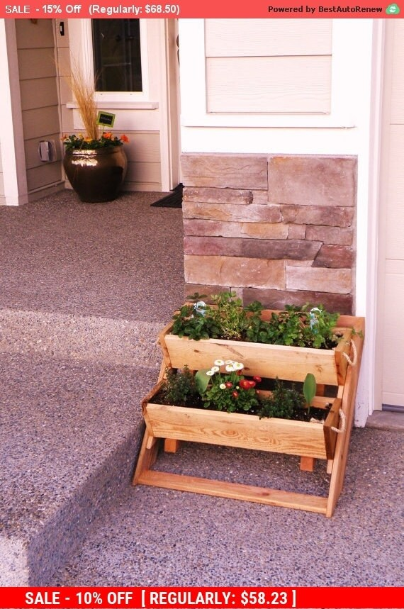 Vertical Garden Kit 2 Planter Sys 16 Wide Wall By RopedOnCedar