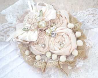 Baby headbands- Ivory Taupe Headband- Neutral Headband- Champagne rosette headbands- Beige and Ivory baby headband- Beige Flower