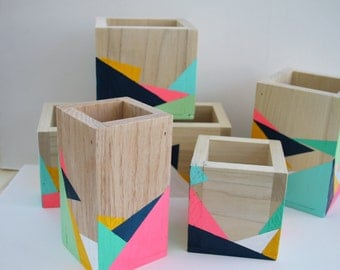 Hand painted geometric storage boxes