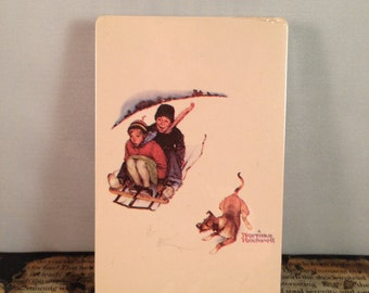 """Vintage Artist Norman Rockwell Playing Cards """"Downhill Daring"""""""