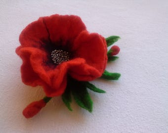 Red Felt Poppy Flower Brooch, Pin, Wool Accessories, Handmade, Gift for Her, Hair Accessories