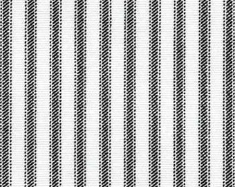 Drapery Fabric, Upholstery Fabric, Black Ticking Stripe  Fabric, Charcoal Ticking, French Country Home, Farmhouse Cottage, Quilting Fabric