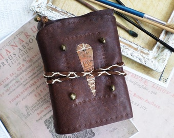 Vintage brown Leather Journal copper and brassAccessories coffee stained paper Ready to Ship