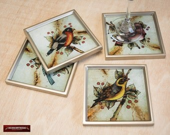 Silver Glass Coaster Set 4 from Peru - Peruvian Glass Coasters, Framed in wood - Handcrafted Birds design - Coaster for drinking