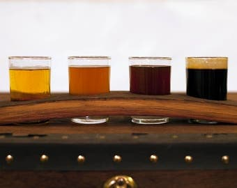 Napa Valley Wine Barrel Stave - Beer Tasting Flight // 4 glass taster set - Father's Day Gift - reclaimed wood - housewarming - bar gift