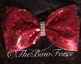"""4"""" wide Jumbo Tail less Sequin Bow"""