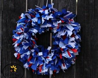 Los Angeles Dodger Ribbon Wreath, Dodger Wreath, Ribbon Wreath, Dodger Decoration, Door Wreath