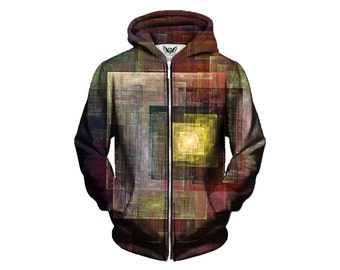 Abstract Geometric Art Zip-Up Hoodie - Cubism Artwork - Zipup Sweatshirt - Printed Hoody