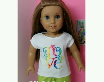 Tie Dye Doll Shirt fits 18 inch Girl Doll, American made, Julie, Retro, Doll Clothes, LOVE, Rainbow Colors, Peace