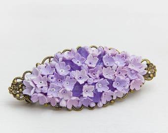 Flower barrette hair, Purple Hair barrette, hair decoration, Serenity barrette hair, Floral barrette, hair barrette lavender