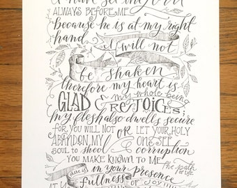 Psalm 16:8-11 | 8x10 Illustration Poster