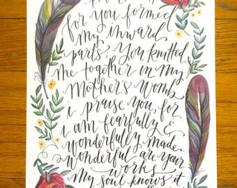 Psalm 139:13-14   8x10 Illustration Print