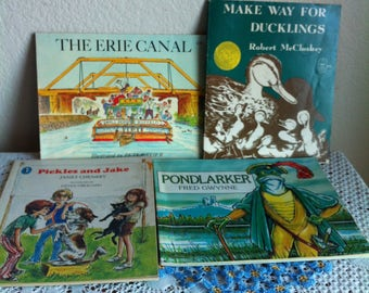 Four Paperback Children's Books Recommended For Ages 5 to 8 Range:  Pickles And Jake, Pondlarker, Erie Canal And Make Way For Ducklings