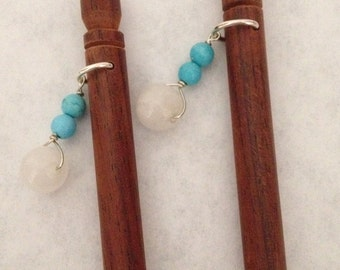 8 inch rosewood ss hair sticks with sterling silver wire wrapped turquoise and quartz beads on each hair stick