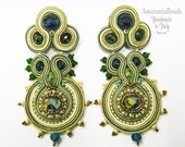 Soutache Earrings Watery Blue Green Gold combi colors    - Made in Italy -
