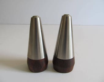 Salt and Pepper, Denmark, Salt and Pepper Shakers, Stainless Steel and Wood Salt and Pepper, Wooden Salt and Pepper, Wood Salt and Pepper