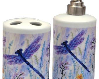 Bathroom Set- Toothbrush Holder. Soap Dispenser - Dragonfly