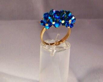Swarovski crystal cluster ring in capri blue
