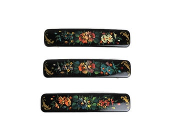 Vintage Zhostovo Floral Painted Hair Clips, Hand Painted Tole, Folk Art Barrettes, Hair Accessories