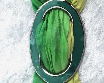 Cloth brooch scarf brooch green cloth clip