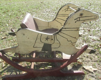 Vintage rocking horse, child's seat, chair, riding toy, painted horse, Glider Rocking Horse