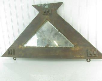 antique metal triangle mirror, architectural salvage,