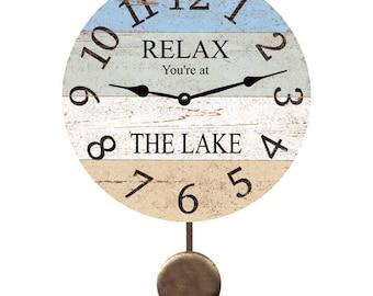 Personalized Relax Lake Clock- Pendulum Clock