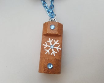Hand painted Lincoln Log Necklace - Colorado Flag or Snowflakes or Initial