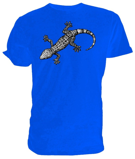 Gecko T shirt choice of sizes and colours, Black and white Line Drawing