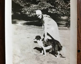 Original vintage photo Lady and her Dog