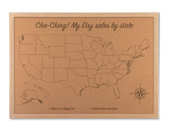 Etsy Order Map, Etsy seller, Sales map tracker, USA Cork Map, United States push pin map, girl boss, cha ching map, entreprenuer gift