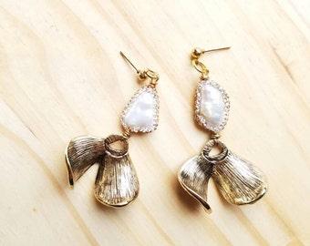 Modern Pearl Drop Flower Petal Earrings - Rhinestone Encrusted  Freshwater Architectural  Statement Jewelry Wedding Minimalist Bohemian Glam