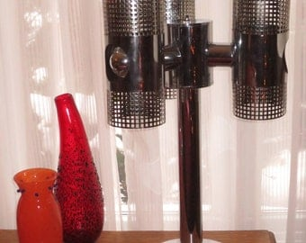 Vintage Retro , Mid Century Modern Chrome Table Lamp , Reticulated Chrome Globes ,