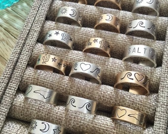 New! Gold Filled and Sterling Silver Stamped Rings