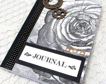Steampunk Mini Journal - Steampunk Notebook - Black and Ivory Mini Journal - Mini Notebook - Vintage Style - Small Notebook - Small Journal