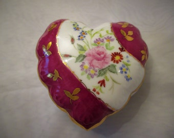 Berry Red and Gold Hand Painted Heart Trinket Box