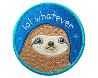 """Lol Whatever Sloth 3"""" Iron-on Patch - 3-inch Embroidered Blue Illustration by Sparkle Collective"""