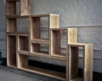 Industrial modular floor standing shelving and storage, made to measure.